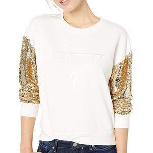 GUESS Women's Long Logo Sequin Sleeve Sweatshirt